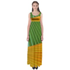 Pattern Colorful Palm Leaves Empire Waist Maxi Dress