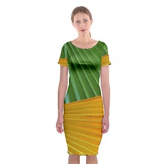 Pattern Colorful Palm Leaves Classic Short Sleeve Midi Dress