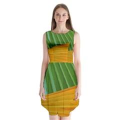 Pattern Colorful Palm Leaves Sleeveless Chiffon Dress