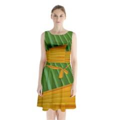 Pattern Colorful Palm Leaves Sleeveless Chiffon Waist Tie Dress