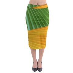 Pattern Colorful Palm Leaves Midi Pencil Skirt