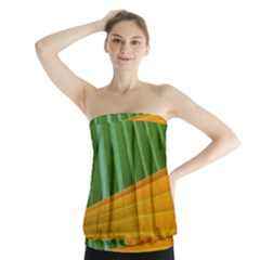 Pattern Colorful Palm Leaves Strapless Top