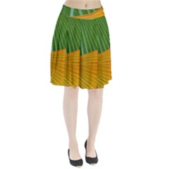 Pattern Colorful Palm Leaves Pleated Skirt