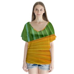 Pattern Colorful Palm Leaves Flutter Sleeve Top