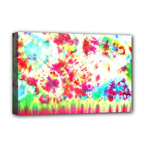 Pattern Decorated Schoolbus Tie Dye Deluxe Canvas 18  X 12