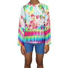 Pattern Decorated Schoolbus Tie Dye Kids  Long Sleeve Swimwear