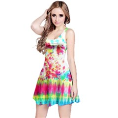 Pattern Decorated Schoolbus Tie Dye Reversible Sleeveless Dress
