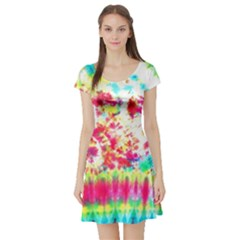 Pattern Decorated Schoolbus Tie Dye Short Sleeve Skater Dress