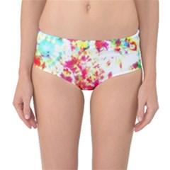 Pattern Decorated Schoolbus Tie Dye Mid Waist Bikini Bottoms