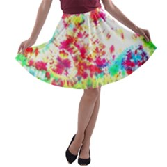 Pattern Decorated Schoolbus Tie Dye A Line Skater Skirt