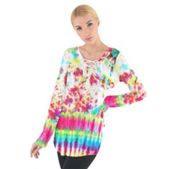 Pattern Decorated Schoolbus Tie Dye Women s Tie Up Tee