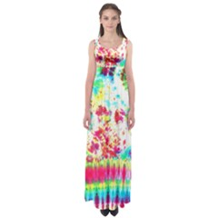 Pattern Decorated Schoolbus Tie Dye Empire Waist Maxi Dress