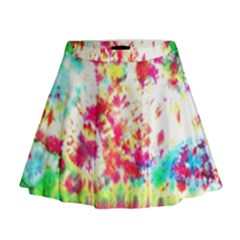 Pattern Decorated Schoolbus Tie Dye Mini Flare Skirt