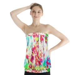 Pattern Decorated Schoolbus Tie Dye Strapless Top