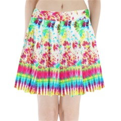Pattern Decorated Schoolbus Tie Dye Pleated Mini Skirt