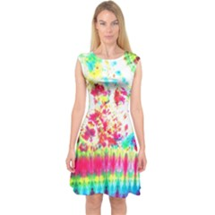 Pattern Decorated Schoolbus Tie Dye Capsleeve Midi Dress
