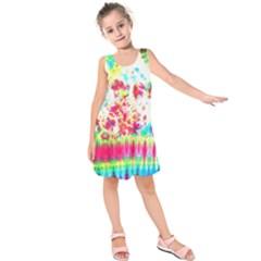 Pattern Decorated Schoolbus Tie Dye Kids  Sleeveless Dress