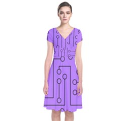 Peripherals Short Sleeve Front Wrap Dress