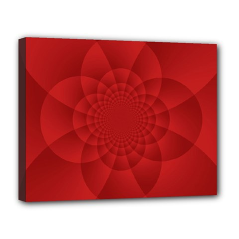 Psychedelic Art Red  Hi Tech Canvas 14  X 11