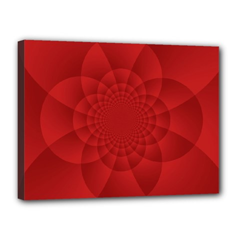 Psychedelic Art Red  Hi Tech Canvas 16  X 12