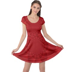Psychedelic Art Red  Hi Tech Cap Sleeve Dresses
