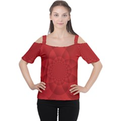 Psychedelic Art Red  Hi Tech Women s Cutout Shoulder Tee