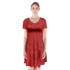 Psychedelic Art Red  Hi Tech Short Sleeve V-neck Flare Dress