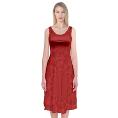 Psychedelic Art Red  Hi Tech Midi Sleeveless Dress
