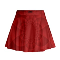 Psychedelic Art Red  Hi Tech Mini Flare Skirt