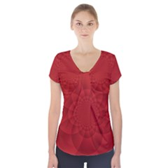 Psychedelic Art Red  Hi Tech Short Sleeve Front Detail Top