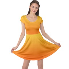 Rainbow Yellow Orange Background Cap Sleeve Dresses