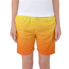 Rainbow Yellow Orange Background Women s Basketball Shorts