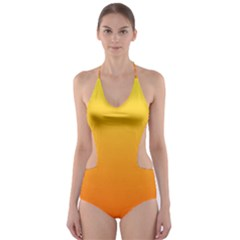 Rainbow Yellow Orange Background Cut Out One Piece Swimsuit