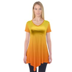 Rainbow Yellow Orange Background Short Sleeve Tunic
