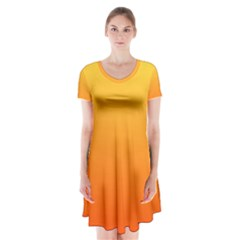 Rainbow Yellow Orange Background Short Sleeve V-neck Flare Dress