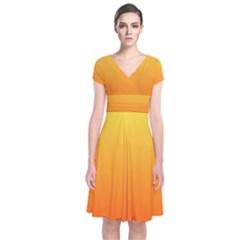 Rainbow Yellow Orange Background Short Sleeve Front Wrap Dress