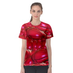 Red Abstract Cherry Balls Pattern Women s Sport Mesh Tee