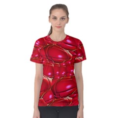 Red Abstract Cherry Balls Pattern Women s Cotton Tee