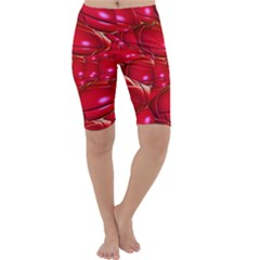 Red Abstract Cherry Balls Pattern Cropped Leggings