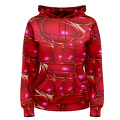 Red Abstract Cherry Balls Pattern Women s Pullover Hoodie