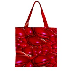 Red Abstract Cherry Balls Pattern Zipper Grocery Tote Bag