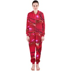 Red Abstract Cherry Balls Pattern Hooded Jumpsuit (Ladies)