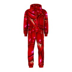 Red Abstract Cherry Balls Pattern Hooded Jumpsuit (kids)