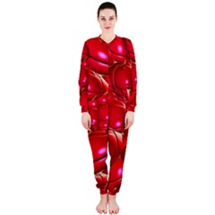 Red Abstract Cherry Balls Pattern Onepiece Jumpsuit (ladies)