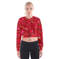 Red Abstract Cherry Balls Pattern Women s Cropped Sweatshirt
