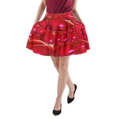 Red Abstract Cherry Balls Pattern A Line Pocket Skirt