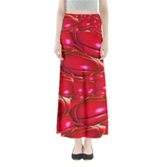Red Abstract Cherry Balls Pattern Maxi Skirts