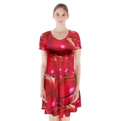 Red Abstract Cherry Balls Pattern Short Sleeve V-neck Flare Dress