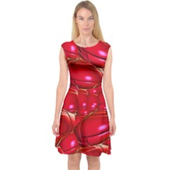 Red Abstract Cherry Balls Pattern Capsleeve Midi Dress
