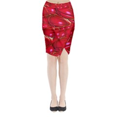 Red Abstract Cherry Balls Pattern Midi Wrap Pencil Skirt